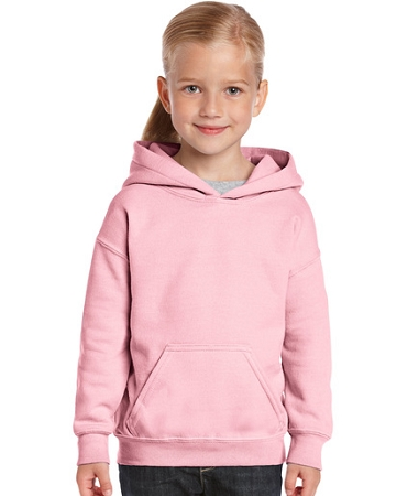 Gildan Pink Youth Heavyweight Pullover Hoodie Sweatshirt