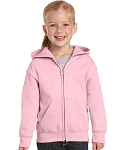 Gildan Pink Youth Heavyweight Full Zip Hoodie Sweatshirt
