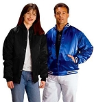 Cardinal Activewear Satin Baseball Jacket Quilt Lined Solid Trim