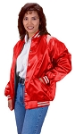 Cardinal Activewear Satin Baseball Jacket Light Lined Stripe Trim