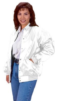 White Satin Baseball Jacket - JacketIn