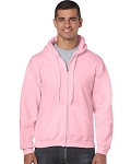 Gildan Pink Heavyweight Full Zip Hoodie Sweatshirt