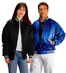 Cardinal Activewear Satin Baseball Jacket Quilt Lined Stripe Trim