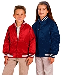 Cardinal Activewear Youth Satin Baseball Jacket Quilt Lined Stripe Trim