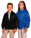 Cardinal Activewear Youth Satin Baseball Jacket Quilt Lined Solid Knit Trim