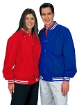 Cardinal Activewear Nylon Baseball Jacket w/white Stripe Knit Trim Light Lined