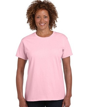 Gildan Pink Ultra Cotton Ladies Classic Fit T-Shirt; shown in Pale Pink