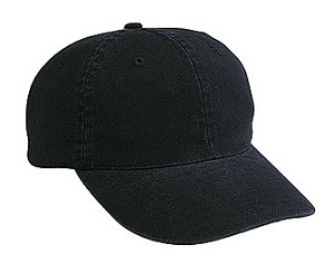 Cotton washed bull denim cap; black only