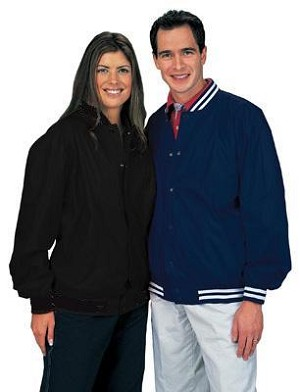Nylon light lined baseball jacket, shown in adult black w/solid knit trim on left