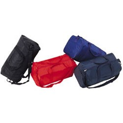 Nylon Square Duffel Bag, shown in Black, Royal; and Navy; Sorry! Red is no longer available